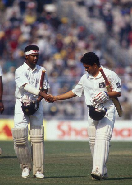 Vinod Kambli (left) and Sachin Tendulkar (right) were batting partners since their early school days