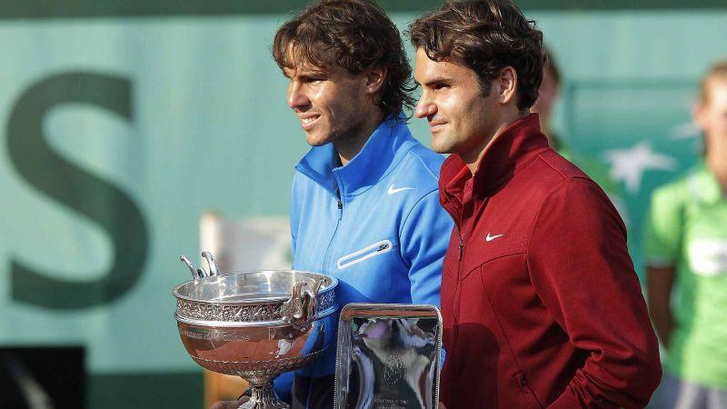 Roger Federer and Rafael Nadal at the 2011 Roland Garros post-match presentation