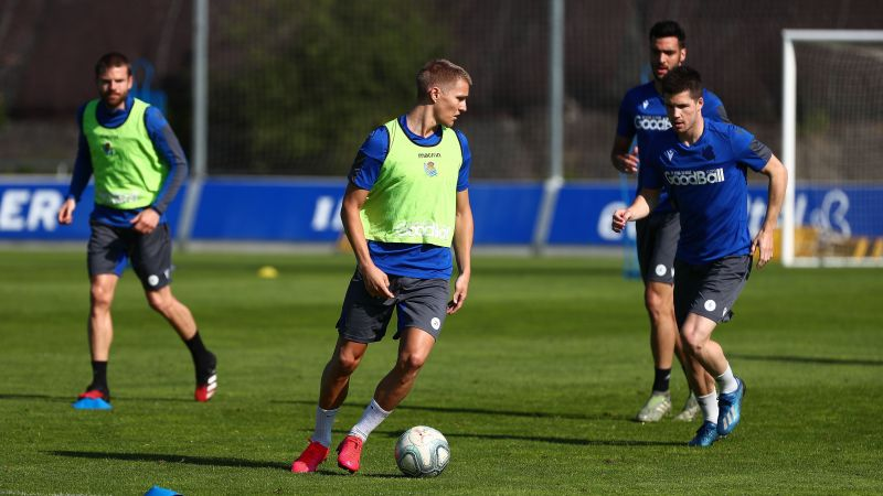 Real Sociedad players - including star loanee Martin Odegaard - in action on their return to training