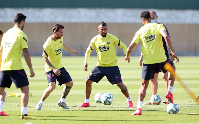 Barcelona players in training today as they step up their preparations for next month