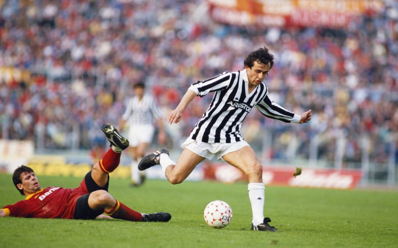 Michel Platini in action against AS Roma