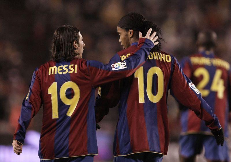 Ronaldinho took Lionel Messi under his wing at Barcelona.
