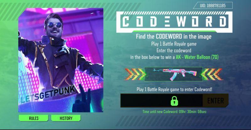 Fill codeword to win legendary gun skins in Free Fire