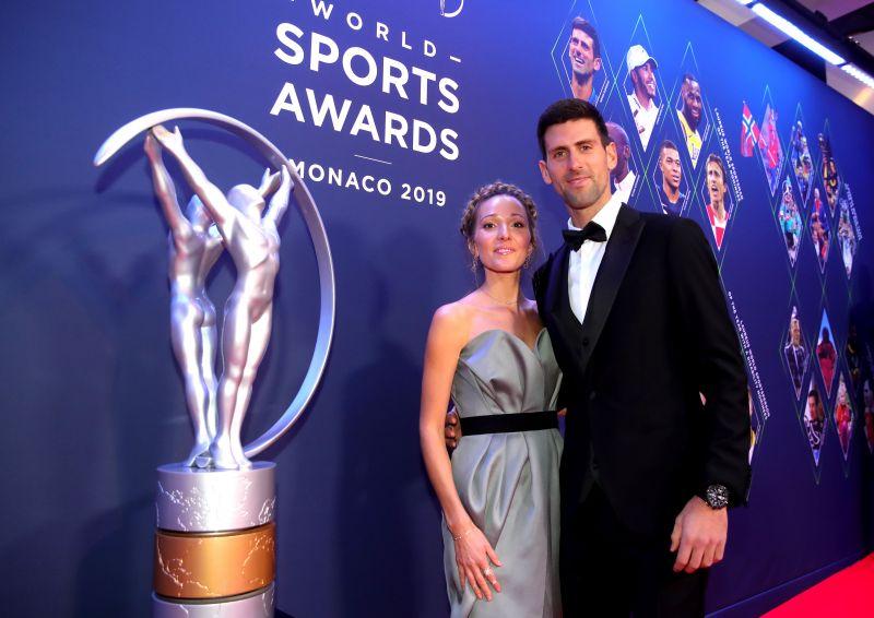 Novak Djokovic with his wife Jelena Djokovic at the 2019 World Sports Awards show