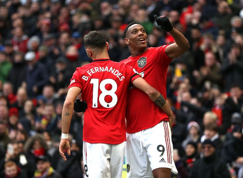 Anthony Martial and Bruno Fernandes in action