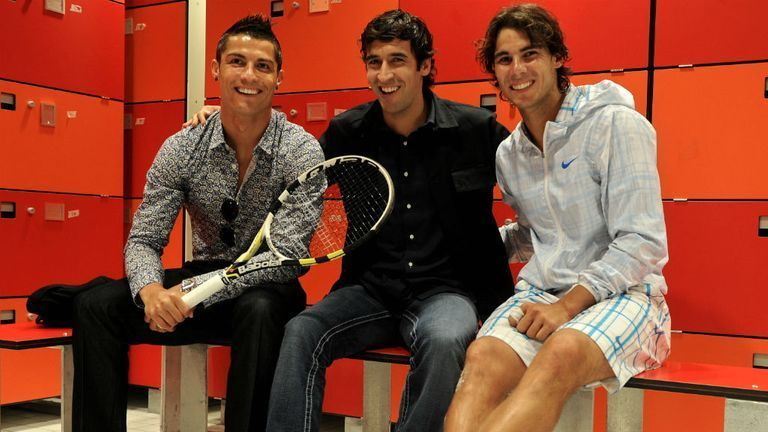 Rafael Nadal hangs out with Cristiano Ronaldo and Raul Gonzalez