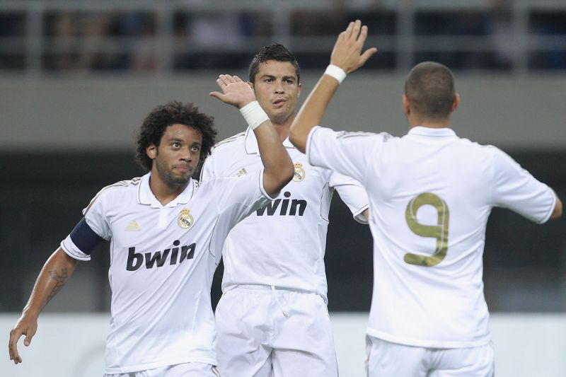 Cristiano Ronaldo with former Real Madrid teammates Marcelo and Karim Benzema