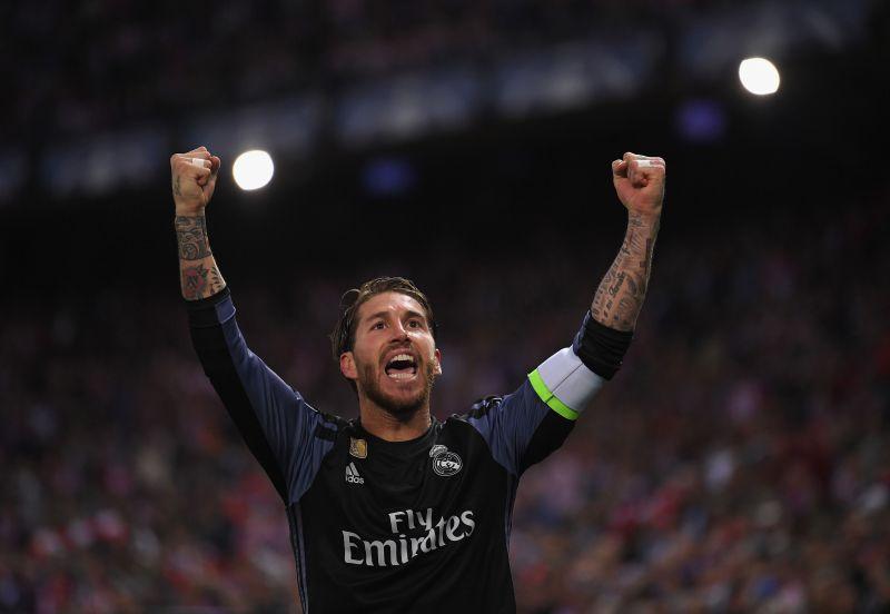 Sergio Ramos celebrates scoring a goal for Real Madrid.