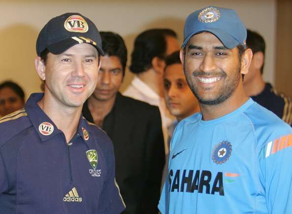 Michael Hussey chose Ricky Ponting (l) and former Indian captain MS Dhoni as the two best captains he has played under