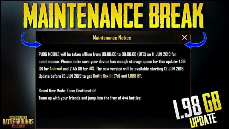 PUBG Mobile 0.18.0 Maintenance Break