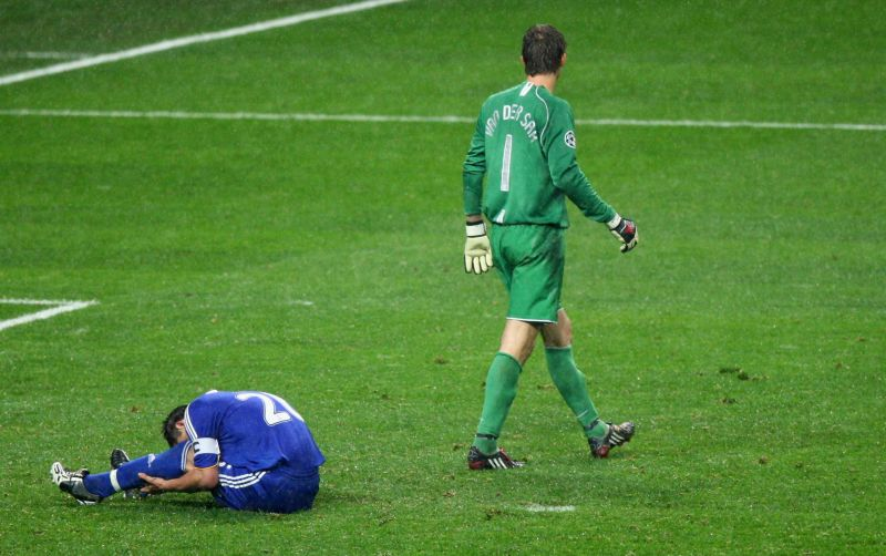 Van der Sar after Terry misses the crucial penalty