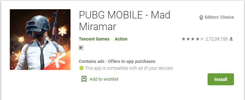 PUBG Mobile update not showing on Google Playstore