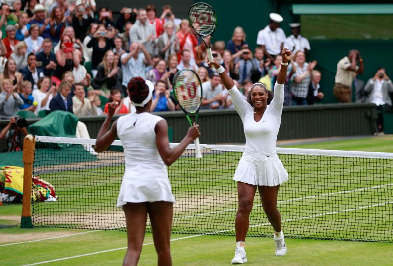 Venus (L) and Serena Williams looked in great spirits in their Instagram Live session