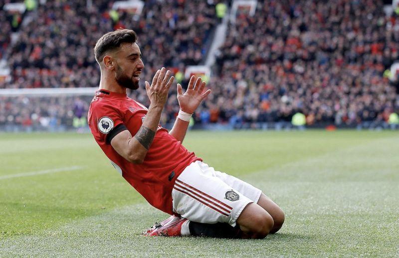 Bruno Fernandes celebrates after scoring a goal