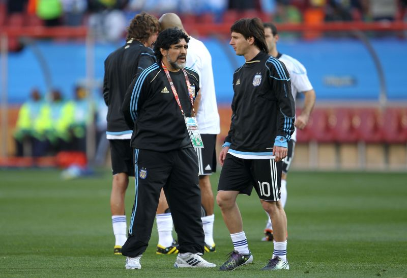 Lionel Messi was managed by Diego Maradona in the 2010 FIFA World Cup