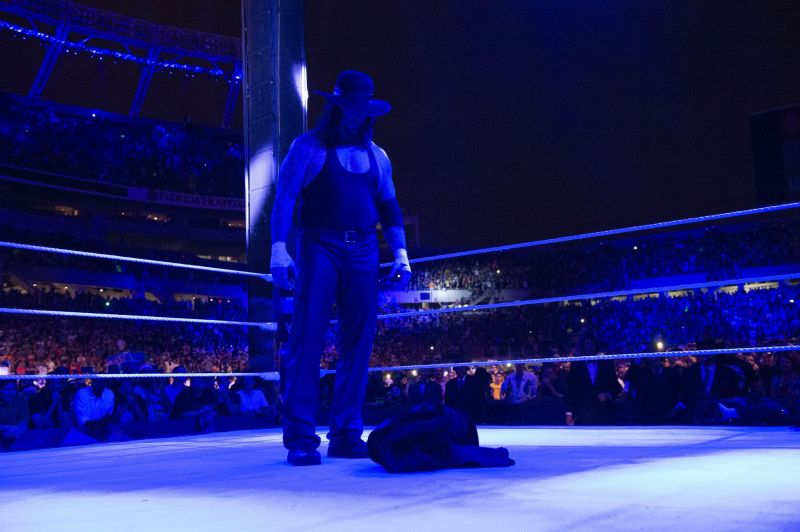 Undertaker leaves his coat in the ring following WrestleMania 33