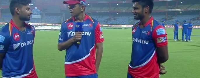 Rishabh Pant (L) and Sanju Samson (R) with Rahul Dravid