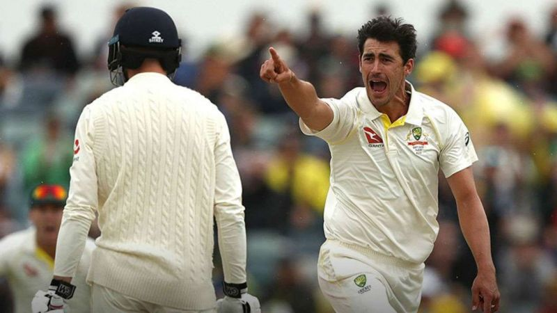 Mitchell Starc celebrates his wicket of James Vince after bowling the Jaffa