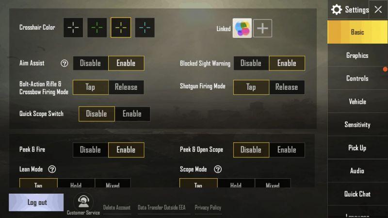 PUBG Mobile sensitivity settings