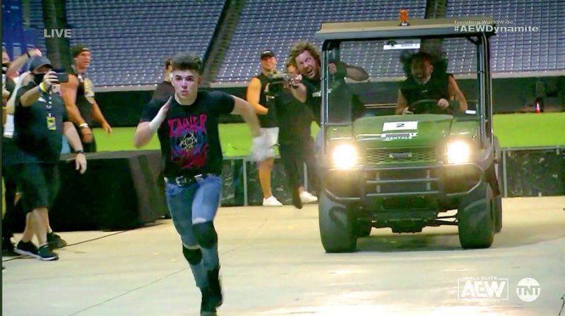 Sammy Guevara fleeing from an ensuing Kenny Omega and Matt Hardy