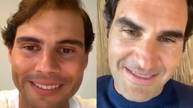 Roger Federer during an Instagram video chat with Rafael Nadal