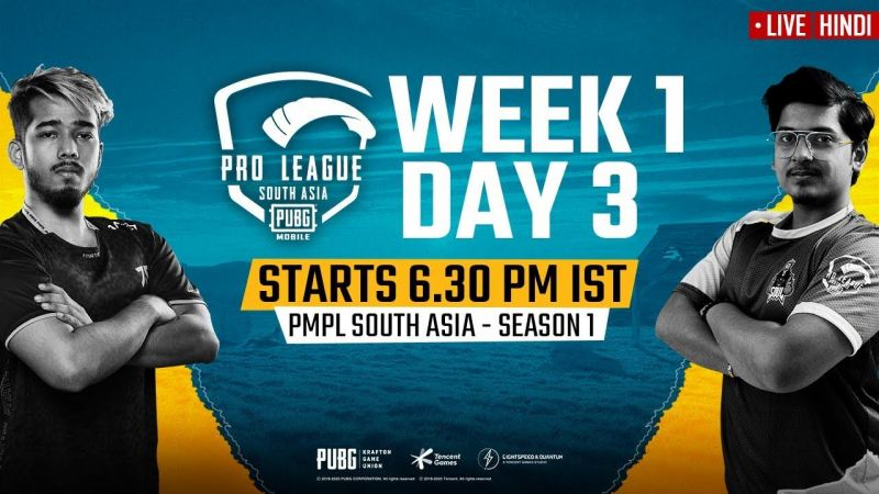 PMPL South Asia 2020 Week 1 Day 3 Schedule