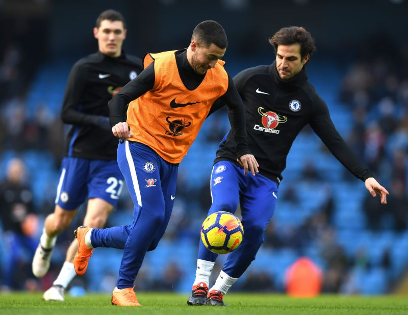 Fabregas and Hazard in training for Chelsea