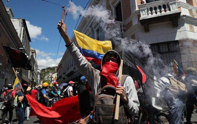 Street demonstrations in Ecuador against economic cutbacks