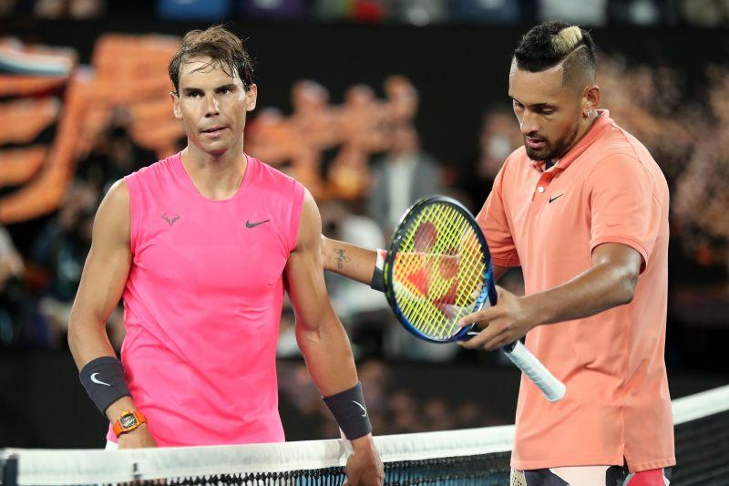 Rafael Nadal (L) and Yannick Noah