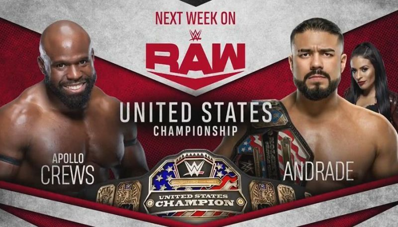 Who will win the United States Championship match between Andrade and Apollo Crews tonight on RAW?