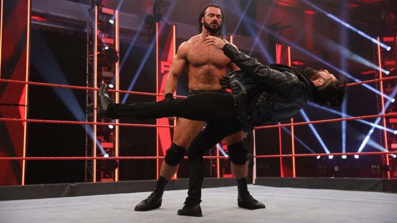 Drew McIntyre laying out Seth Rollins with a headbutt