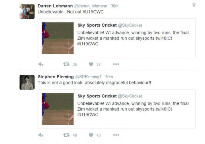 Darren Lehmann and Stephen Fleming reacted quickly on Twitter