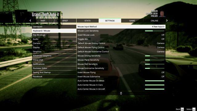 GTA 5 Control Settings