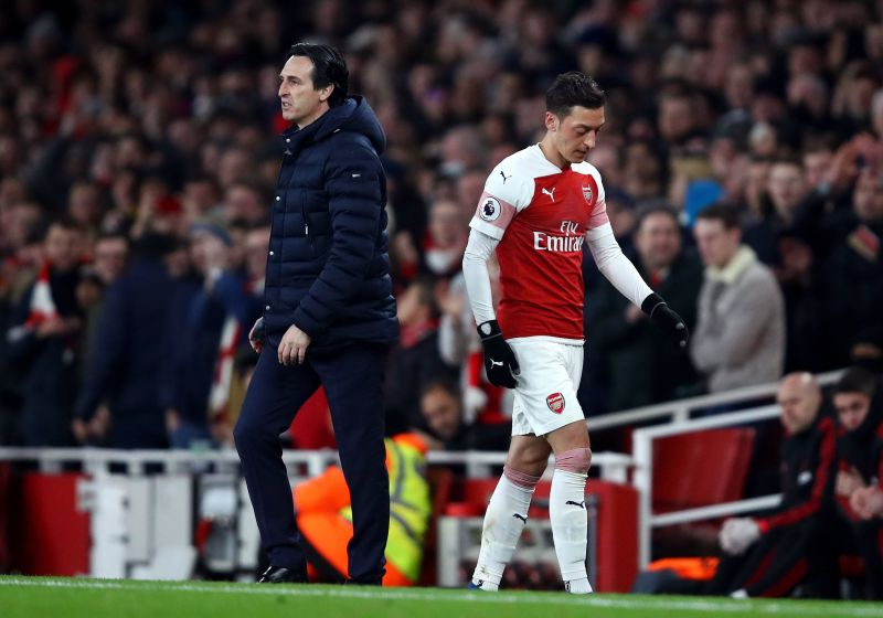 Unai Emery and Mezut Ozil endured a rocky relationship at Arsenal