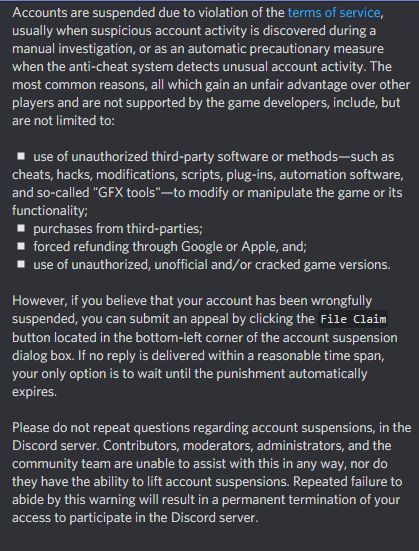 A message from discord server