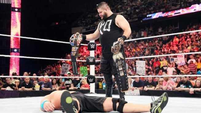 Kevin Owens taunting John Cena on his main roster debut