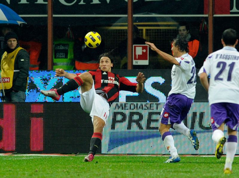 Zlatan Ibrahimovic injured himself with this goal for Milan in 2010 - but refused an attempt to substitute him