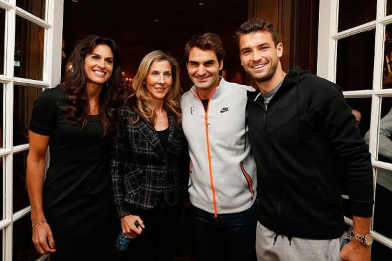 From left: Gabriela Sabatini, Monica Seles, Roger Federer and Grigor Dimitrov