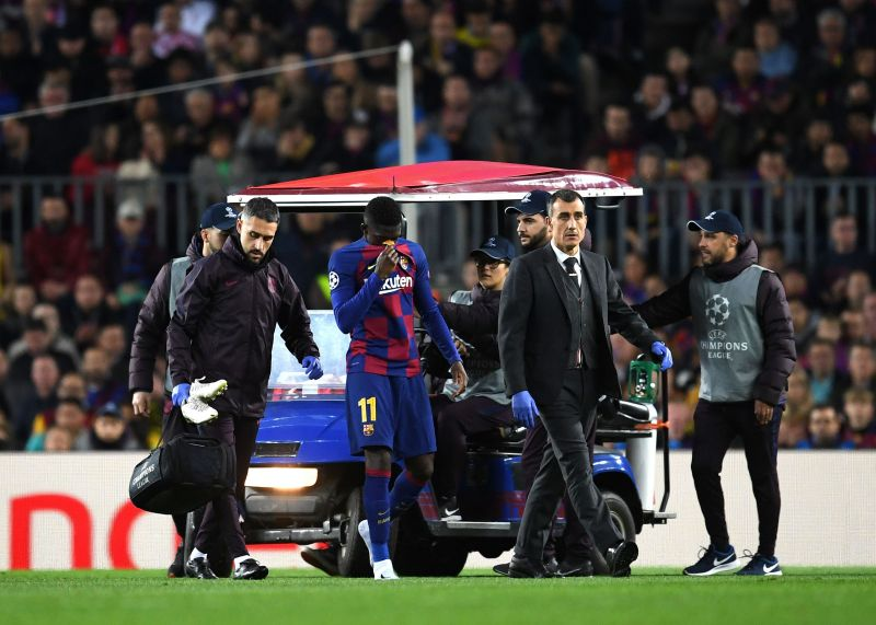 Dembele limped off in tears against his former club during their Champions League win on Nov. 27