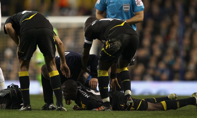 Muamba collapsed on the pitch and was rushed to the hospital.