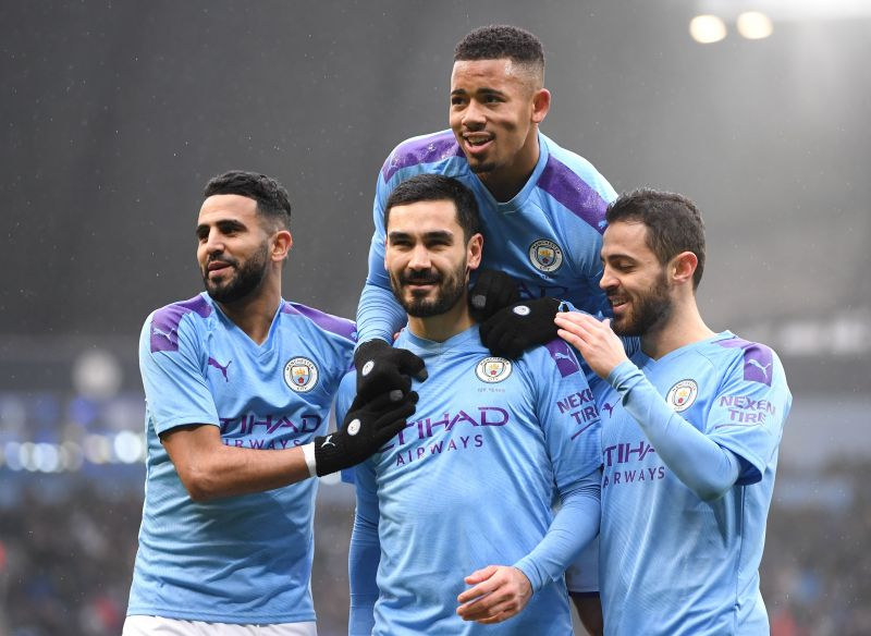 Manchester City players in action