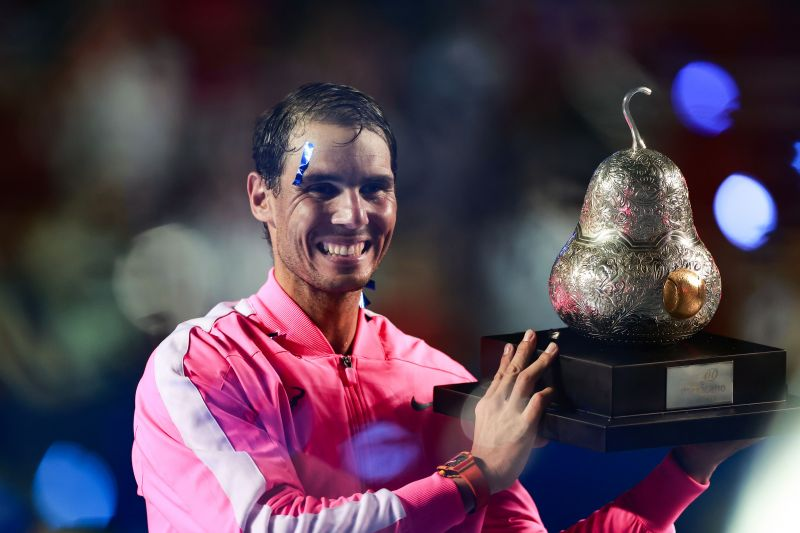Rafael Nadal celebrates winning the Mexican Open earlier this year