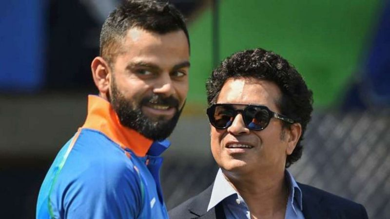 Virat Kohli along with Sachin Tendulkar during the CWC 2019