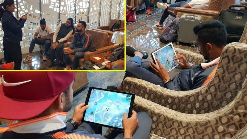 Virat Kohli and Indian cricket team playing PUBG Mobile at the airport (Image: RandomVideos/YT)