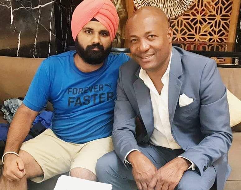 Amar Jeet Singh with Brian Lara