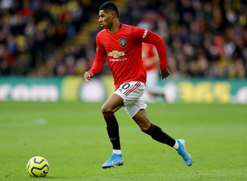 Marcus Rashford in action for Manchester United in the Premier League