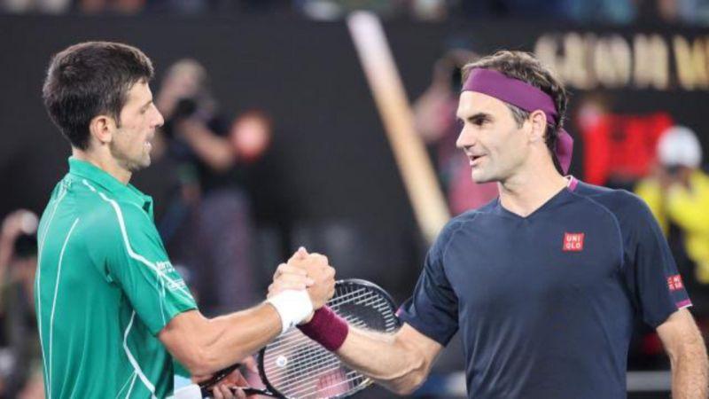 Novak Djokovic (left) and Roger Federer at the 2020 Australian Open