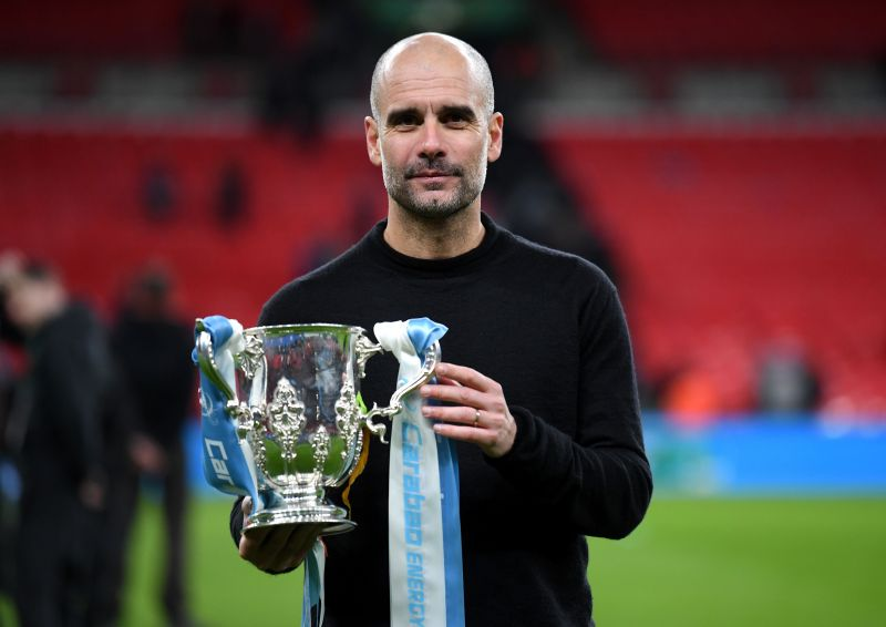 Pep Guardiola completed an unprecedented domestic treble with Manchester City