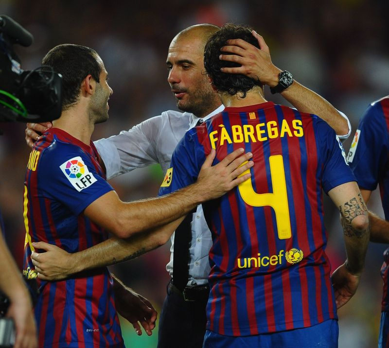 Fabregas played under Guardiola at Barcelona before moving to Chelsea