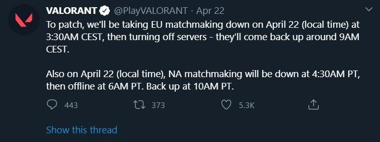 An example of the Valorant servers going down. (pic courtesy: Riot games)